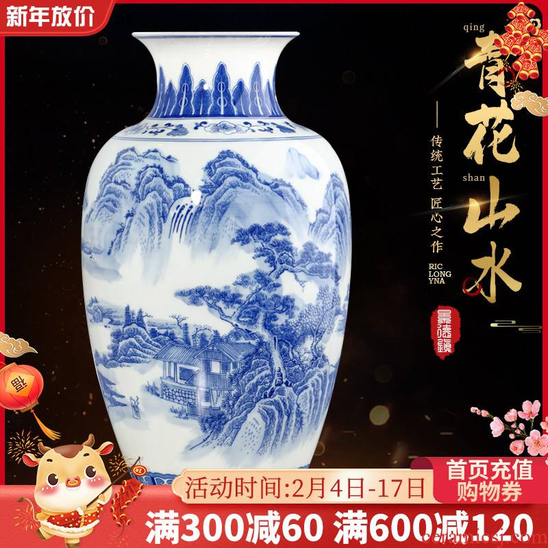 Blue and white porcelain vase and furnishing articles Chinese jingdezhen ceramics home sitting room TV ark, decorations arts and crafts