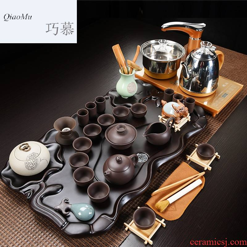 Qiao mu four one automatic tea tray tea table of a complete set of ceramic household contracted kung fu tea set tea cups