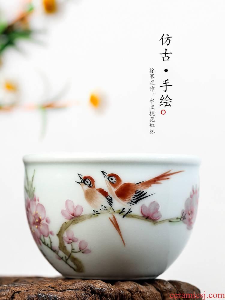 Xu, Jiaxing hand - made peach blossom put water point master cup single CPU getting jingdezhen pure manual white porcelain kung fu tea sample tea cup