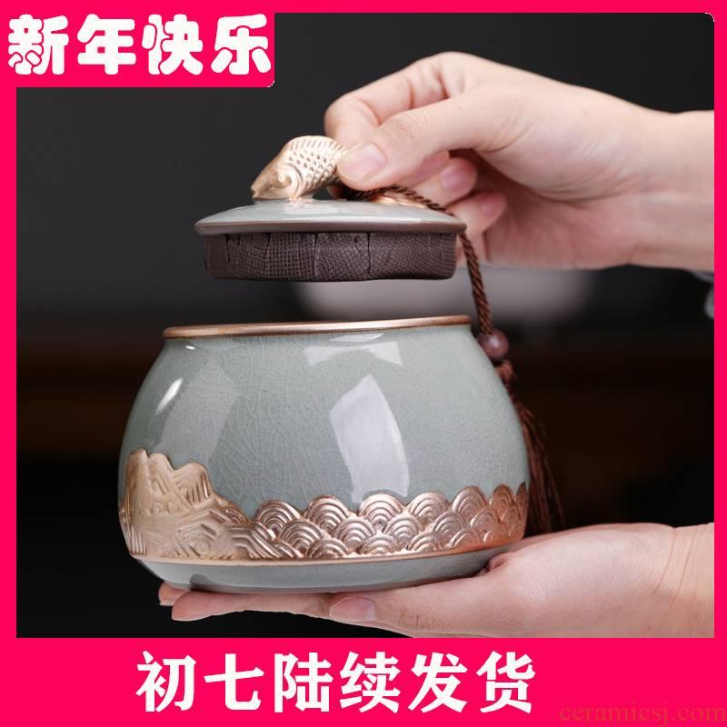 With caddy fixings ceramic decorative furnishing articles pu - erh tea store receives storage tanks With small black tea pu 'er tea POTS