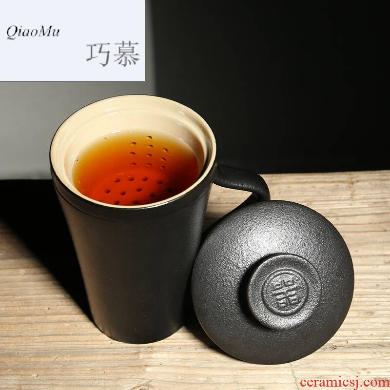 Qiao mu move black glaze porcelain office cup with cover tea filter household creative Japanese large capacity personal water bottle