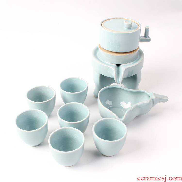 Ya xin elder brother up with tea set home sitting room automatic ceramic teapot teacup retro lazy kung fu tea an artifact