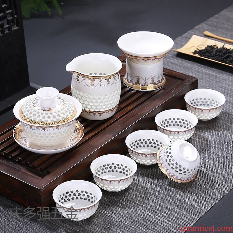 Blue and white porcelain tea set exquisite household honeycomb hollow out a whole set of ceramic kung fu tea teapot teacup tureen