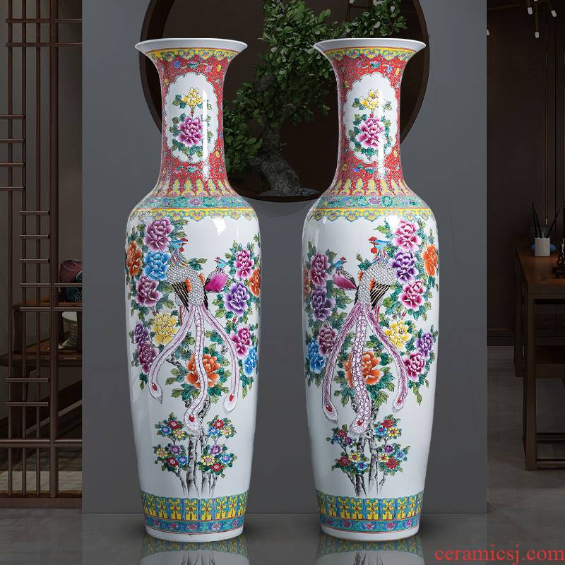 Jingdezhen porcelain ceramic large ground vase hand - made pastel peony phoenix home sitting room adornment is placed