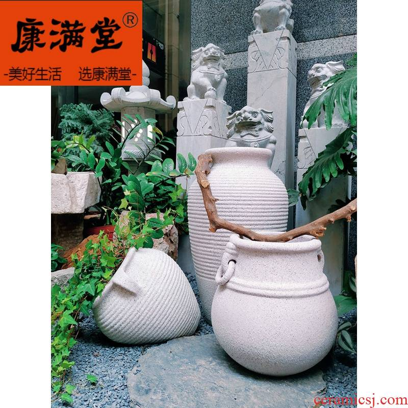 Special package mail really stone paint color red pot garden decoration coarse pottery flowerpot pottery pot pottery large portfolio landscape