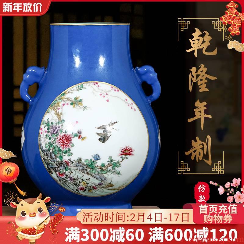 Jingdezhen ceramics pure manual hand - made imitation qianlong pastel vases, flower arrangement sitting room home furnishing articles