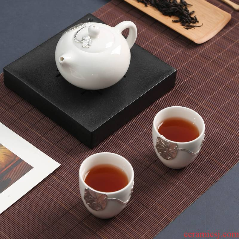 Dehua white porcelain with silver, a pot of two portable is suing jade porcelain ceramic crack cup travel tea set kung fu tea set