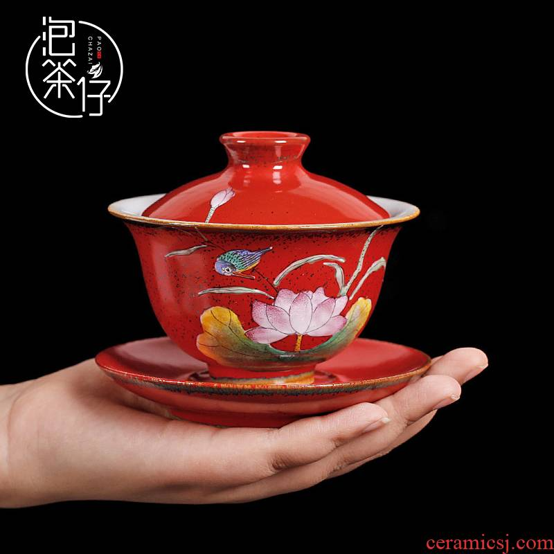 Jingdezhen ruby red from the pure manual tureen tea set three to use a single large hand - made ceramic tea cups