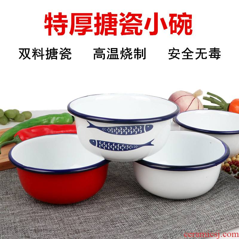 Enamel bowls thick Enamel Enamel Enamel children bowl bowl of rice bowl to ultimately responds porridge noodles bowl of steaming chicken custard