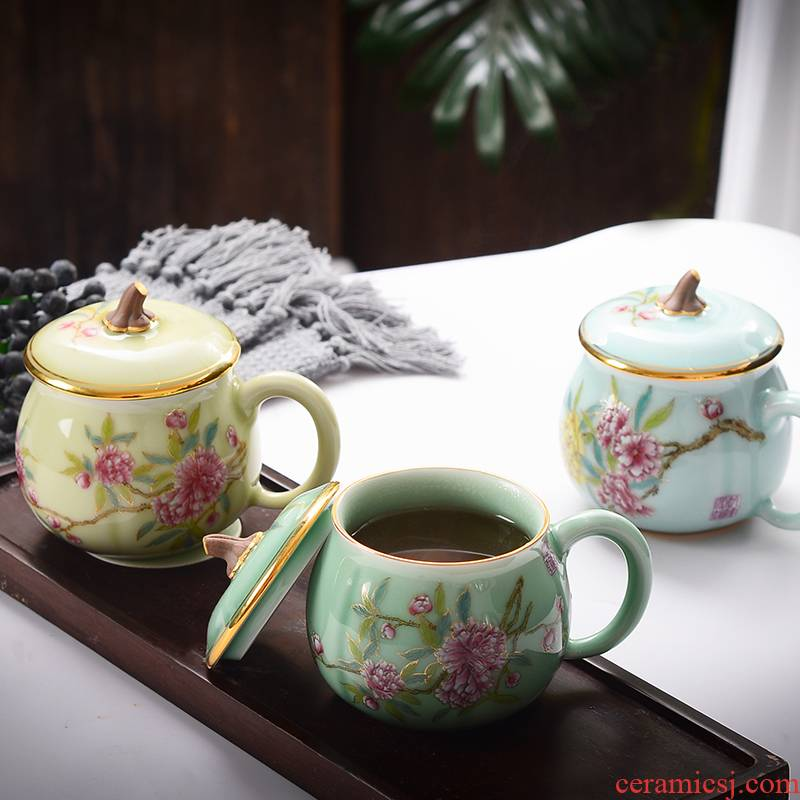 Xin red coloured drawing or pattern keller cups jingdezhen ceramic pumpkins, cup tea cup celadon office cup with cover cups