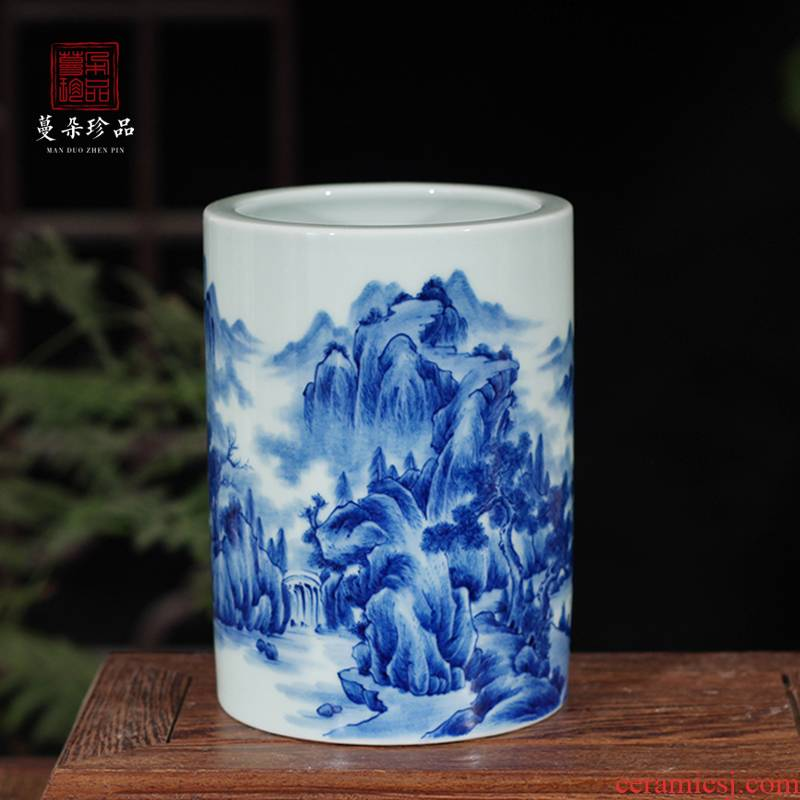 Jingdezhen hand - made scenery high - grade porcelain brush pot rich ancient frame display porcelain brush pot cap tube of pure hand - made of porcelain