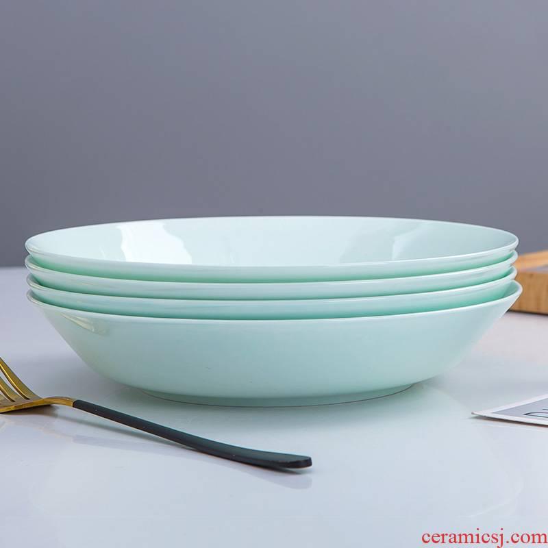 Ipads China tableware disc household ceramic deep dish sets can be microwave food dish FanPan creative web celebrity celadon dishes
