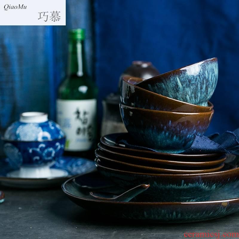 Qiao mu HD peacock pattern variable glaze series coarse pottery rice bowls flat dish plate of small spoon, chopsticks rack dessert dishes