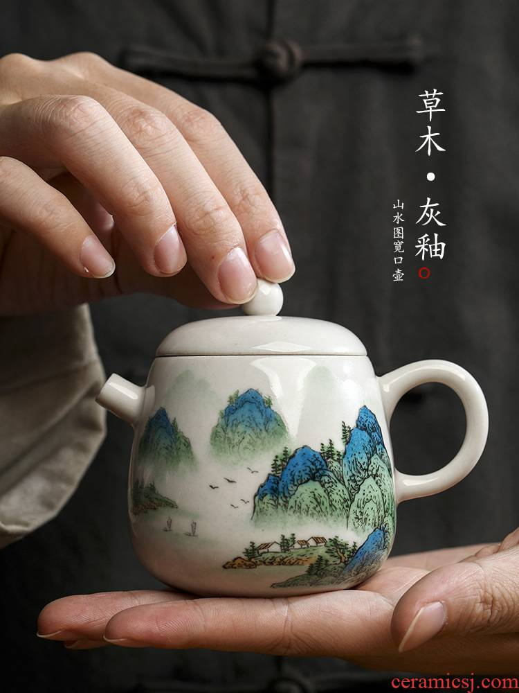 Jingdezhen hand - made teapot pure manual plant ash glaze tea pot of single pot of Chinese landscape ceramic kung fu tea set