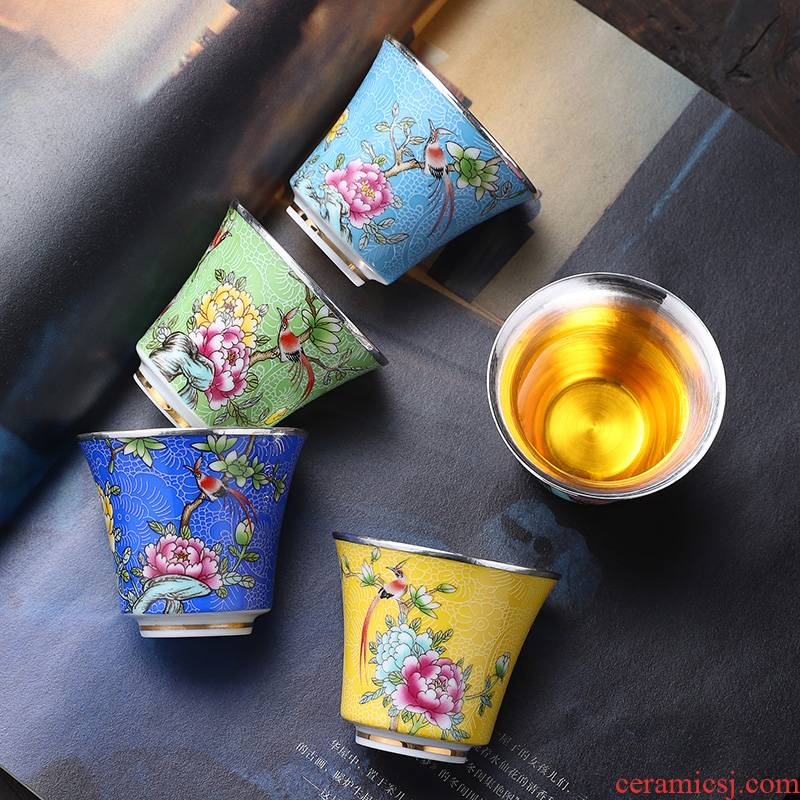 Jingdezhen silvering cup 999 sterling silver colored enamel cup edible masters cup sample tea cup silver cups only