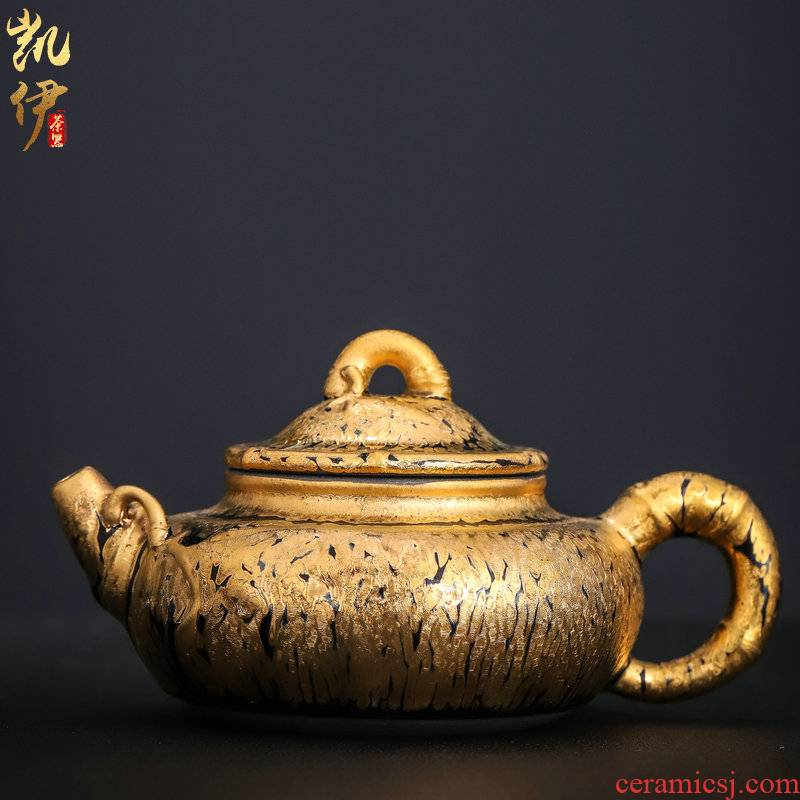 Zeng, Guangxu manual teapot 24 k yellow marigold temmoku up of bamboo pot built kung fu tea ceramic teapot