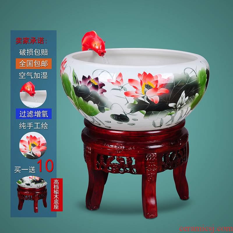 The Add oxygen tank aquarium tank cycle the sitting room of jingdezhen porcelain jar ceramic water filter cylinder goldfish bowl the tortoise