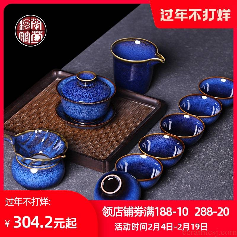 Jun porcelain tea set to restore ancient ways ceramic tea cups Japanese pu - erh tea tea tureen the whole box office