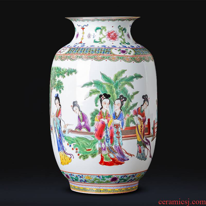 Jingdezhen ceramics powder enamel paint vases, flower arranging place of new Chinese style household living room TV cabinet decorative porcelain