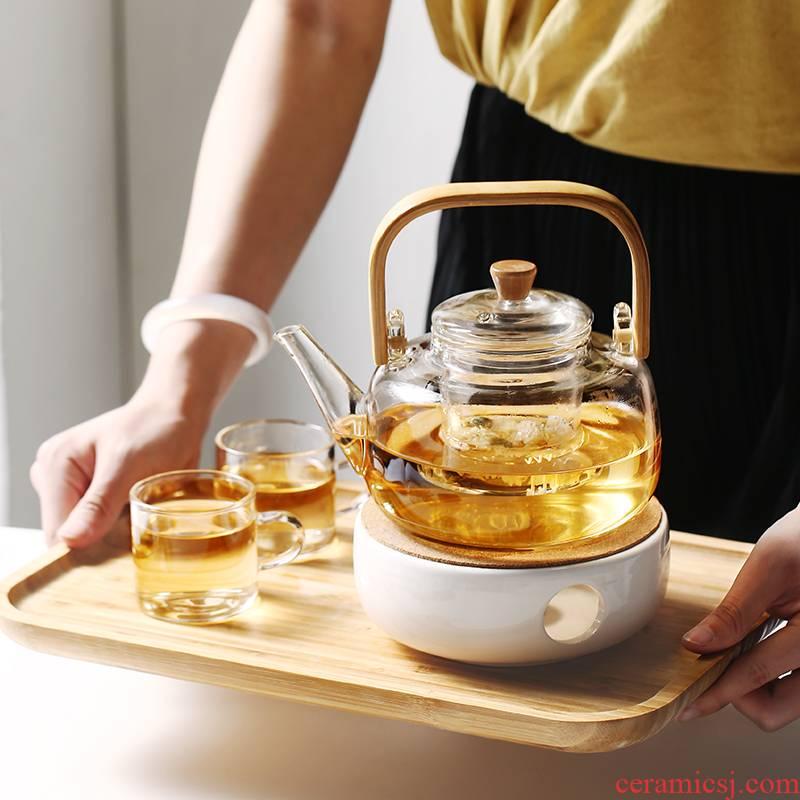 Japanese household bamboo girder with thick glass teapot tea pot of hot water filter electric TaoLu cook kung fu tea