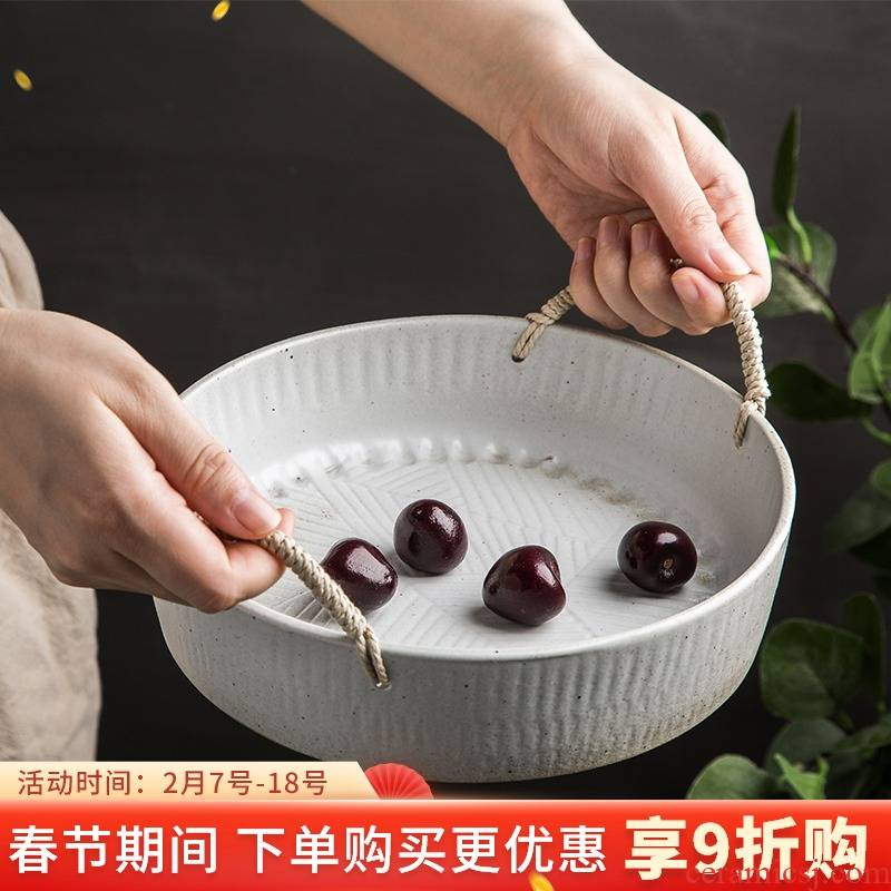 Japanese teahouse adornment of appreciating the fruit compote home stay facility retro tray pastry dish coarse pottery big vegetable salad bowl dish
