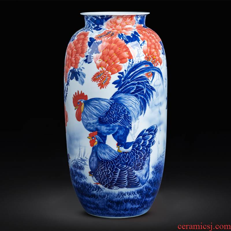 Hand - made of blue and white porcelain of jingdezhen ceramics idea gourd vases, new Chinese style household living room TV ark adornment furnishing articles
