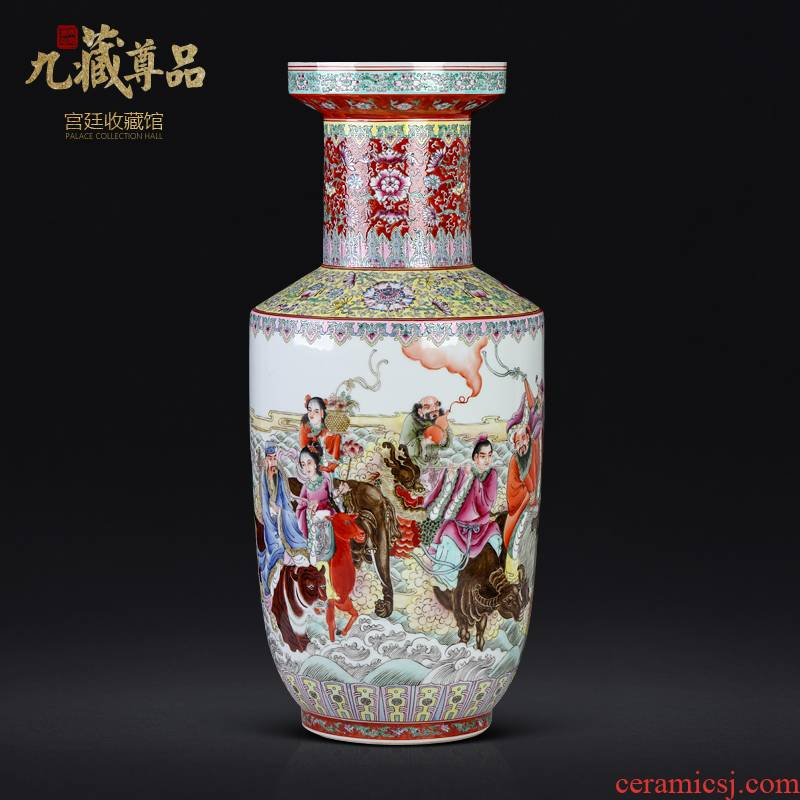 Antique hand - made enamel vase, the eight immortals of jingdezhen ceramic sitting room porch study Chinese TV ark adornment furnishing articles