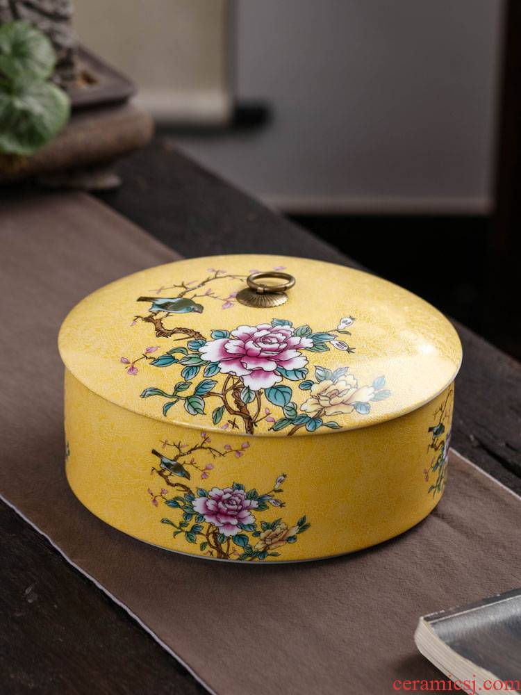 Painting of flowers and colored enamel caddy fixings ceramic seal pot large puer tea tea cake box household saving POTS and POTS