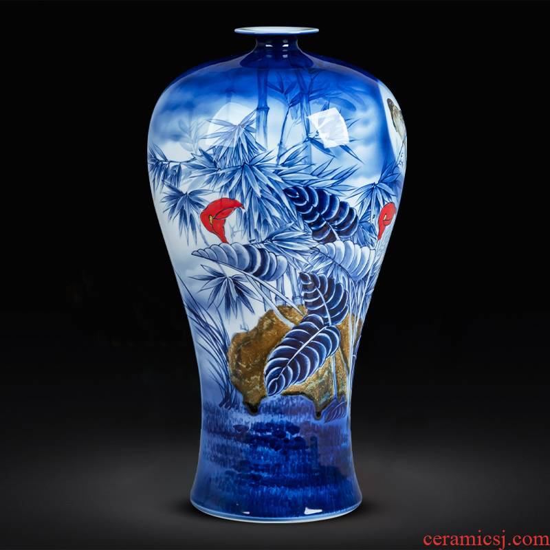 Hand draw large blue and white porcelain is jingdezhen ceramics new sitting room of Chinese style household decorative porcelain vase landed furnishing articles