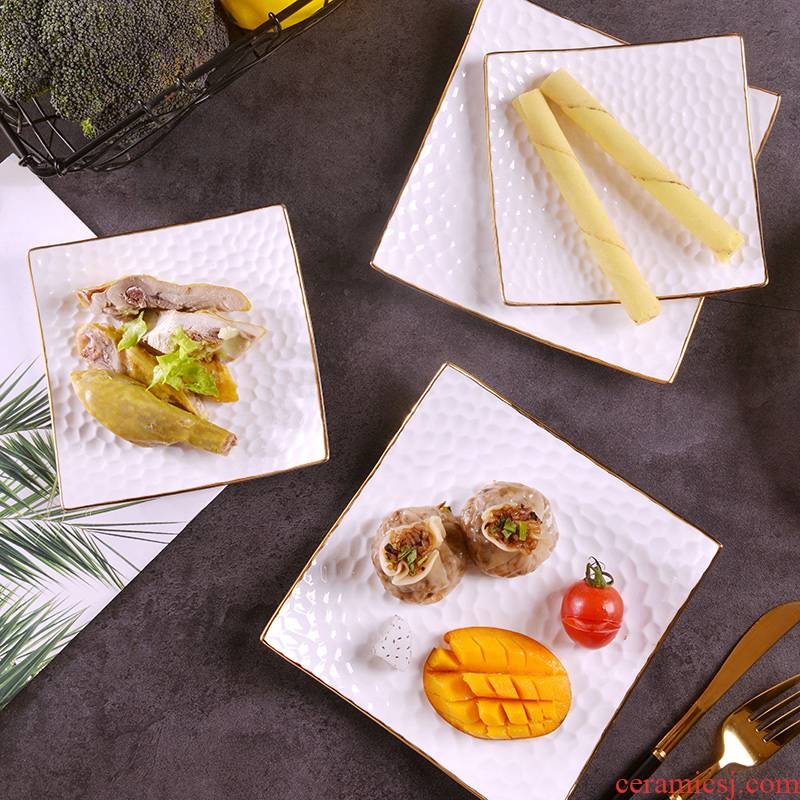 Ipads China up phnom penh manual gold 】 【 relief square pad household ceramics creative snacks dessert plate of fruit plate