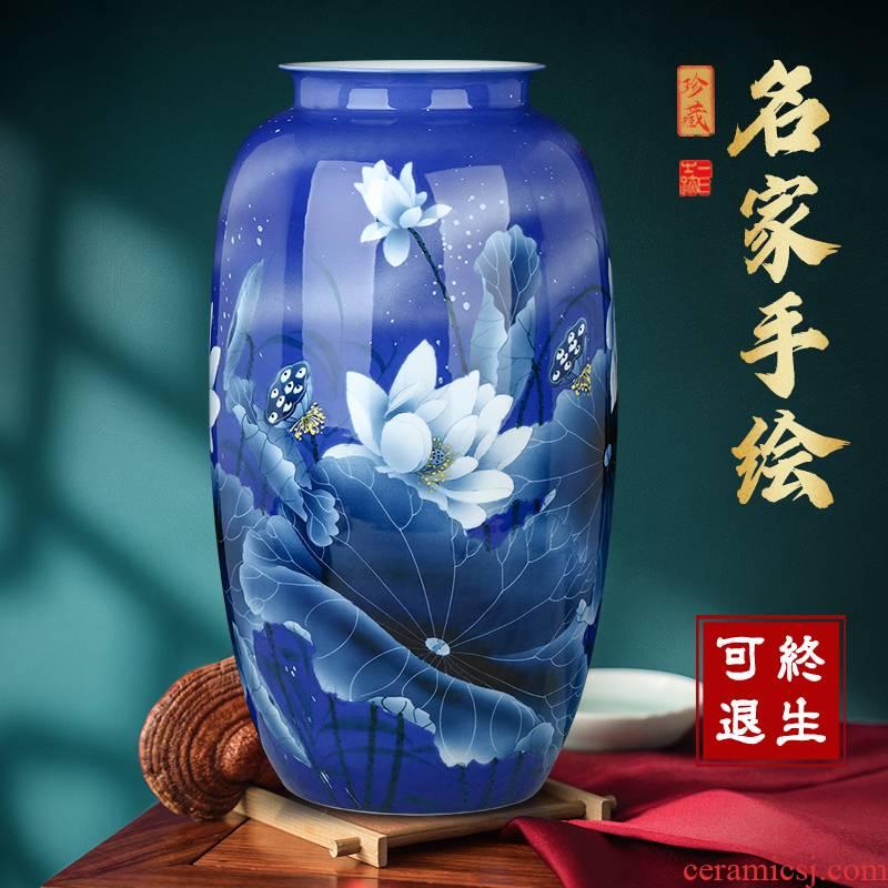 Jingdezhen ceramic vases, antique hand - made of blue and white porcelain lotus flower arrangement sitting room adornment style desktop home furnishing articles
