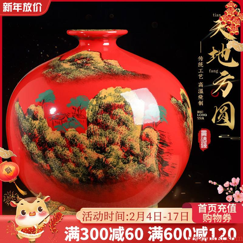 Jingdezhen ceramics China red hand - made scenery vase furnishing articles sitting room porch creative decorations large arranging flowers