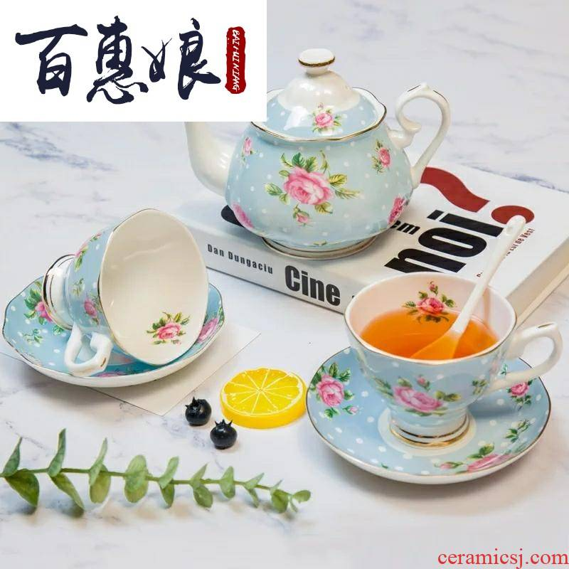 Ceramic coffee set (niang European suit household Ceramic English afternoon tea red cups little key-2 luxury contracted grace