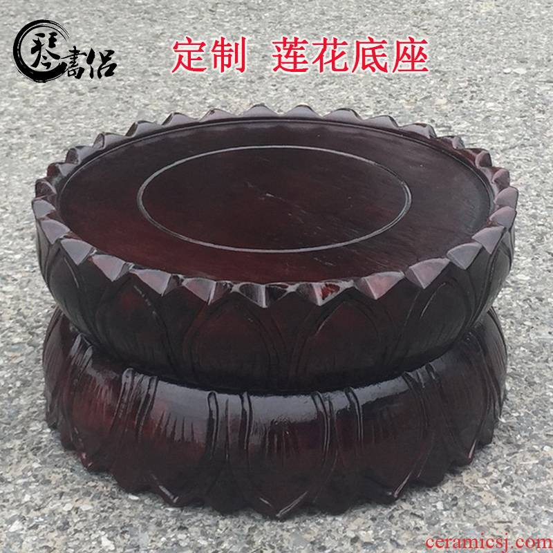 Pianology picking solid wood carved lotus lotus base station manually guanyin Buddha base more who can be customized