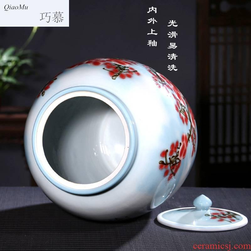 Qiao mu jingdezhen ceramic barrel 50 kg ricer box with cover storage tank pickled porcelain jar tank oil cylinder of tea