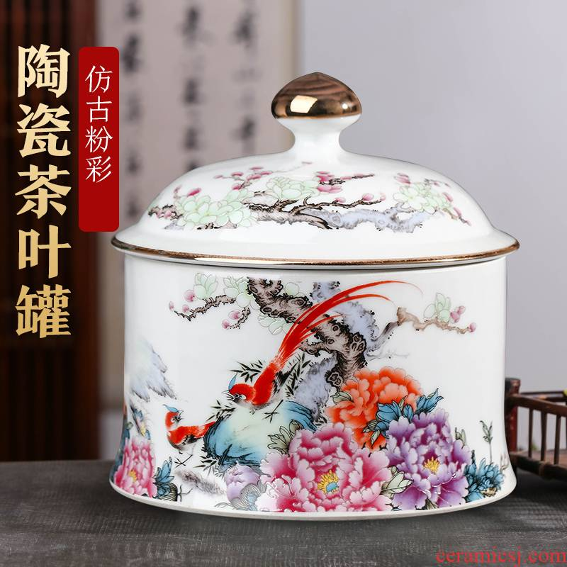 Jingdezhen ceramic tea pot enamel household small loose tea sealed as cans snack jars with cover storage tank is restoring ancient ways