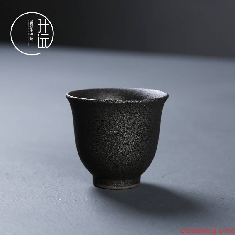 Coarse pottery teacup kung fu tea set a single cup of black ceramic sample tea cup Japanese creative vintage pu - erh tea light collocation
