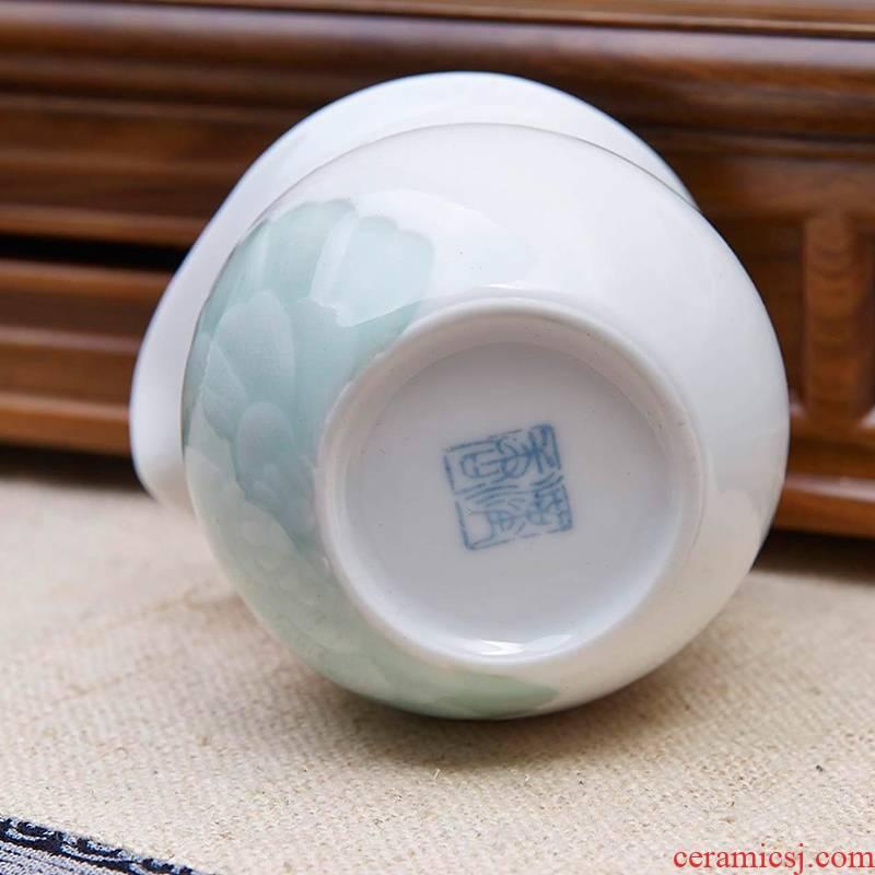Qiao mu jingdezhen hand - made ceramic tea set 6 sets of household under glaze color porcelain kung fu tea tureen suits for