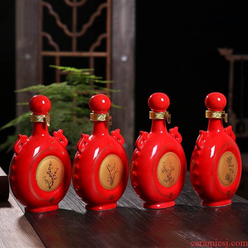 An empty bottle of jingdezhen ceramic 1 catty the loaded with gift box household sealing liquor pot by patterns of creative wine jars