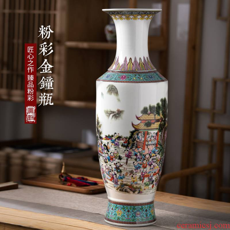 Jingdezhen archaize enamel pottery and porcelain vases, flower arrangement of Chinese style living room porch floor furnishing articles TV ark, adornment
