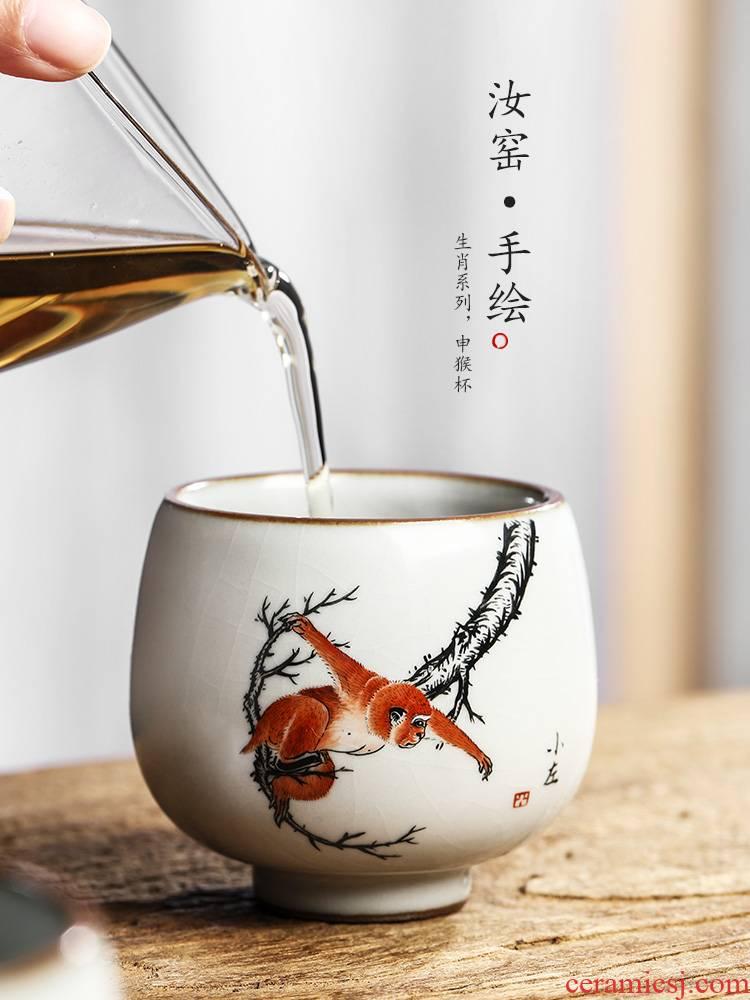Pure manual your up zodiac master cup single CPU jingdezhen hand - made kung fu tea cups a single bowl sample tea cup