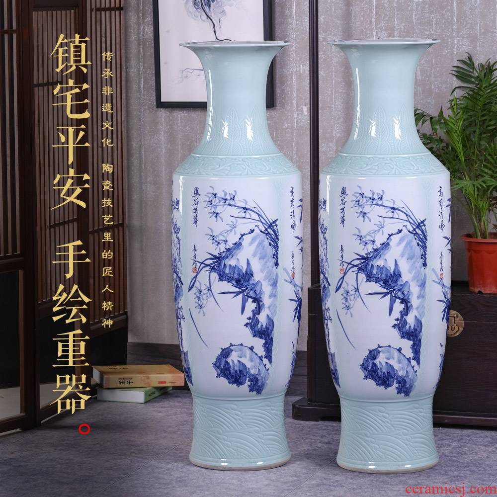 Landing by patterns of jingdezhen ceramics is increasing in the vase Chinese I sitting room place hotel housewarming gift