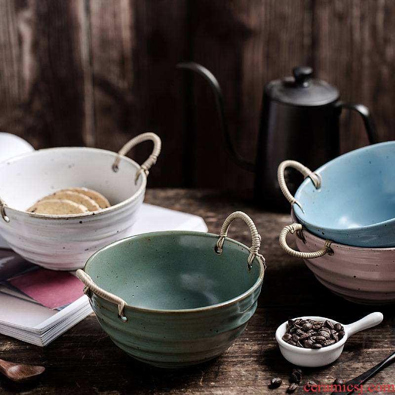Japanese tableware individuality creative coarse pottery hand cane binaural pot soup bowl contracted soup basin bowl bowl of restoring ancient ways is its home