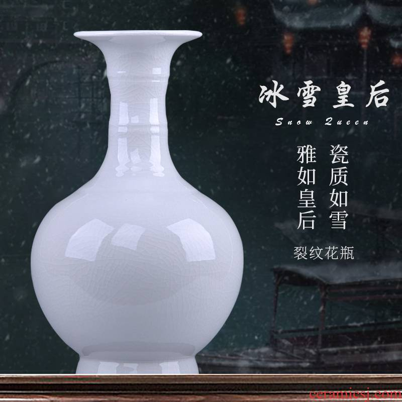 Jingdezhen porcelain ceramic vase white ice crackle borneol ceramic sitting room of Chinese style household adornment furnishing articles