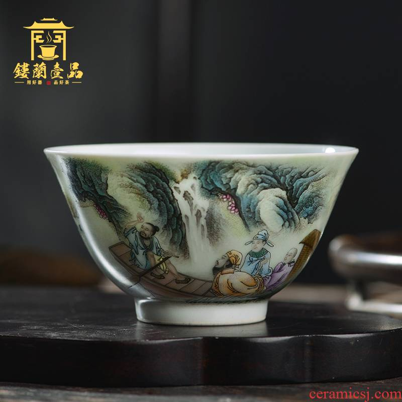 All hand famille rose red cliff the vigil masters cup of jingdezhen ceramic kung fu tea set single cup tea cup large single CPU