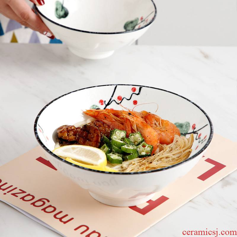 Jingdezhen ceramic bowl Japanese individual the draw rainbow such as bowl noodles big bowl of household tableware big salad hat to bowl