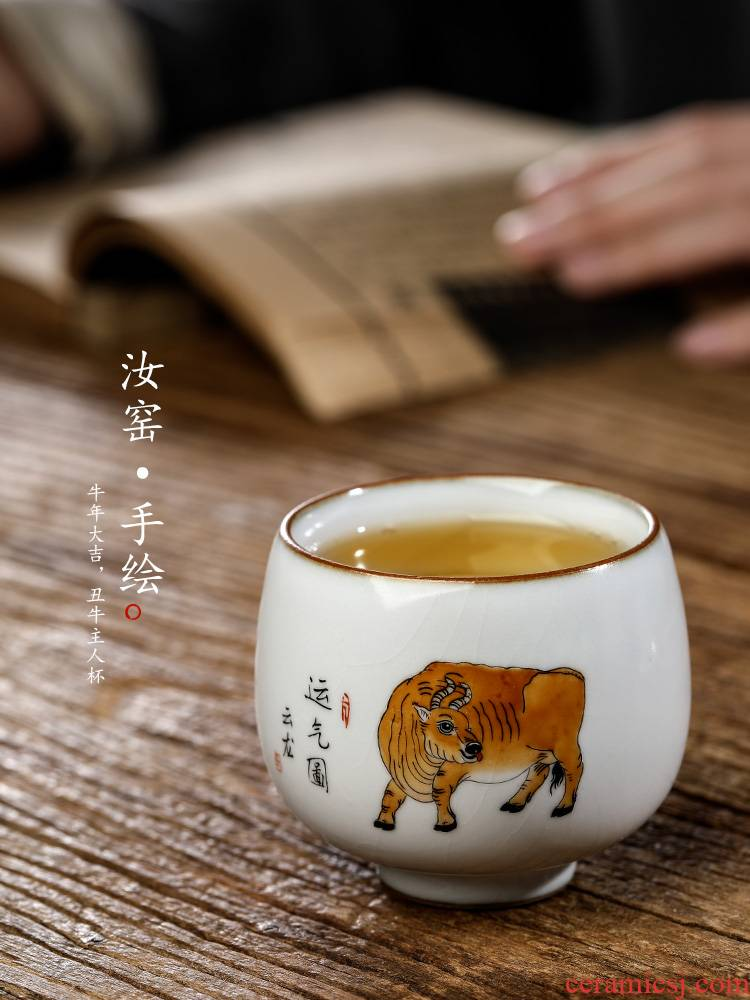 Hand your up jingdezhen Chinese zodiac cattle master cup single CPU Hand - made sample tea cup kung fu tea set ceramic cup