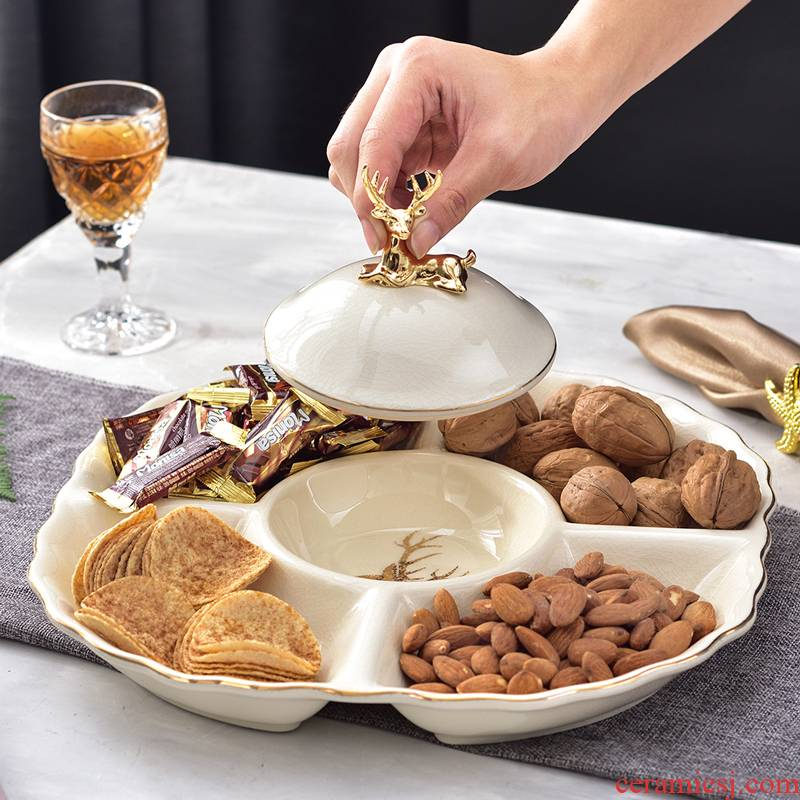 European ceramic frame dry fruit tray snack plate melon seeds disc nut plate household creative I sitting room compote wedding