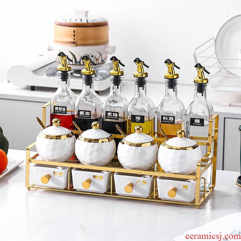 Sauce seasoning can suit the Nordic, wrought iron ceramic combination box household glass Sauce seasoning bottle kitchen shelf