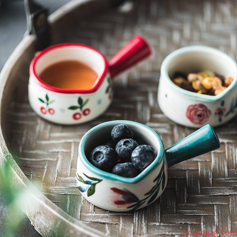 "Nordic four seasons wind ceramic milk cup honey can ""bringing small milk pot handle mini milk coffee juice milk cup western food"